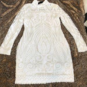 White sequin long sleeve dress